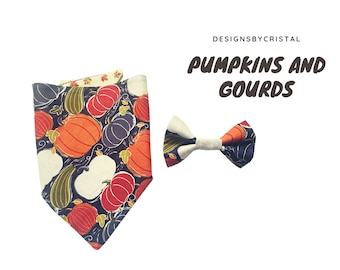 Pumpkins and Gourds Snap On Dog Bandana, Dog Collar and Optional Bow Tie