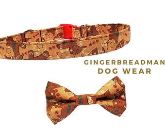 Gingerbread Man Dog Collar with Optional Bow Tie