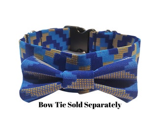 Blue African Print Dog Collar or Bow Tie