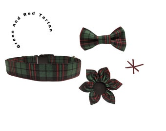 Tartan Dog Collar - Green, Black and Red Plaid Dog Collar With Optional Bow Tie or Flower