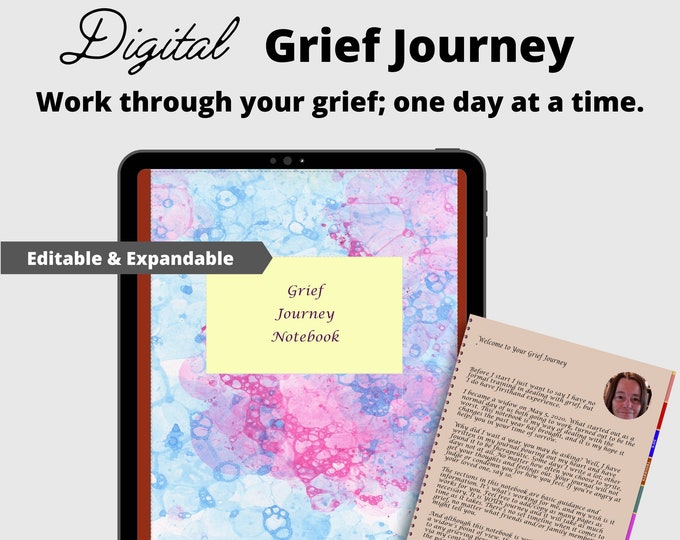 Grief and Mourning Digital Journal   iPad/Tablet Compatible   Goodnotes   Noteshelf