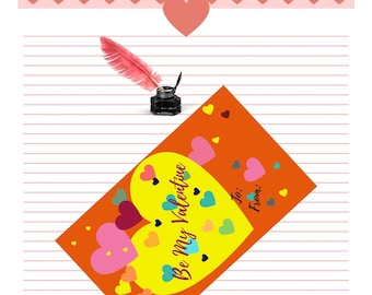 Valentine Card Printable | Valentine's Day | 4 per page | Digital Download | Kid's Valentine