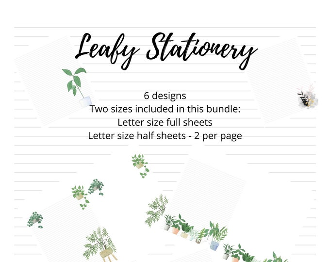 Leaf Printable Stationery Bundle | Letter and Note Paper | Letter Writing | Printable Writing Paper | Planner Insert | Recipe Card