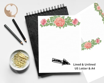 Pink Rose Stationery Set | Writing Paper | Floral Stationery | Letter Size | A4 Size | Journal Paper