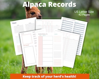 Alpaca Health Record Bundle | Herd Health | Vaccination Record | Husbandry | Income/Expense Records | Printable Animal Records | Undated
