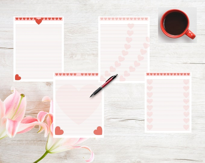 Printable Heart Stationery | Writing Paper | Lined Heart Stationery | Anniversary Paper | Printable Stationery | Journal Paper