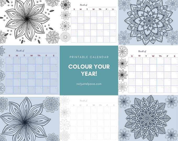 Undated Colouring Calendar | Mandala Calendar | Colour Your Own