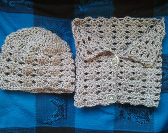Crocheted Hat/Neckwarmer Pattern; cowl; hat; winter wear; fashion; for her; use yarn of choice