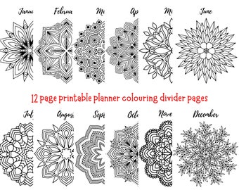 Planner Dividers | Mandala Colouring Pages | Monthly Planner Dividers | Digital Download | US Letter Size | Household Planner Pages