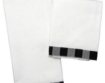 Vintage Gingham Dishtowel Black - Embroidery Blank