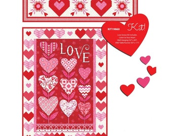"""Listen With Your Heart Quilt Kit Featuring Love Grows by Deb Strain - 32"""" x 44"""" with Bonus Runner"""