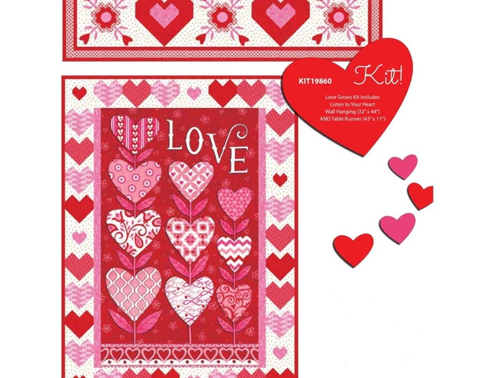 "Listen With Your Heart Quilt Kit Featuring Love Grows by Deb Strain - 32"" x 44"" with Bonus Runner"