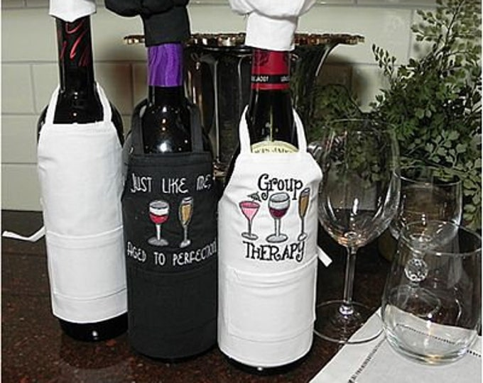 Wine Bottle Apron with Hat Embroidery Blank