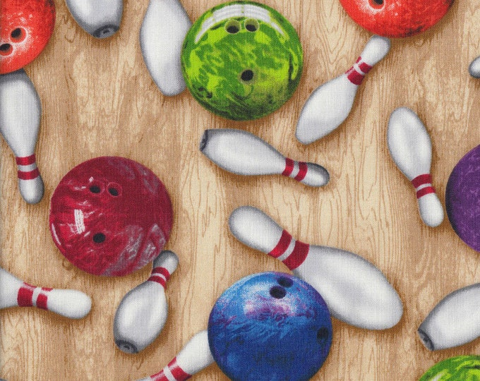 Sports Life 4 by Robert Kaufman Fabrics - Bowling Theme - By the Yard SRK-15657-205 Multi