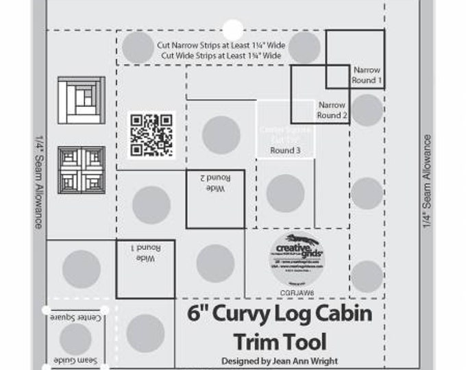"6"" Curvy Log Cabin Trim Tool by Creative Grid with Free Rainbow Swirls Pattern by Cut Loose Press"