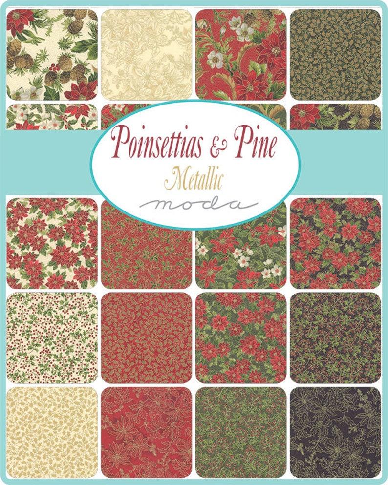 Metallic Poinsettias Pine by Moda Fat Quarter Bundle 27 FQ