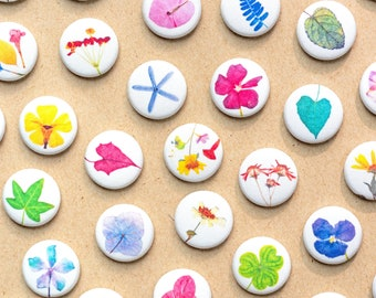 Pressed Flowers Fabric Pinback Buttons & Magnets