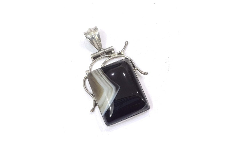 Black Onyx 925 Sterling Silver Stunning Charm Pendant Handmade Natural Gemstone Party Wear Jewelry for Women /& Girls