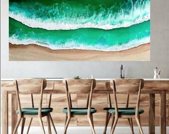 Sold Ocean Resin Artwork - Ocean Painting - Seascape - Resin Ocean Painting - Ocean Art - Ocean Waves - Resin Artwork - Aerial Ocean - Sea