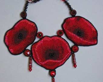 Red flower poppy statement necklace bead embroidery