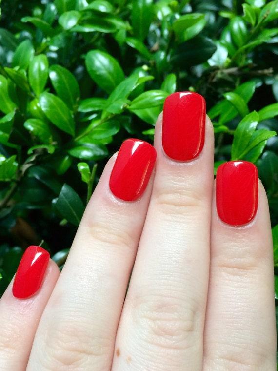 Red nails fake nails false nails red acrylic nails | Etsy
