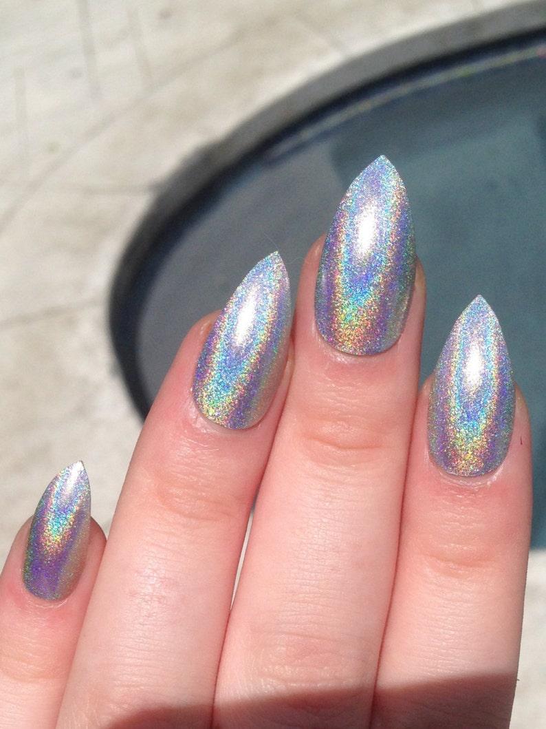 fake nails stiletto nails holographic nails holo image 0