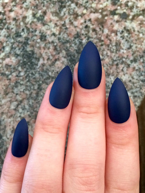 Matte nails, stiletto nails, navy blue, fake nails from nailsbykate ...