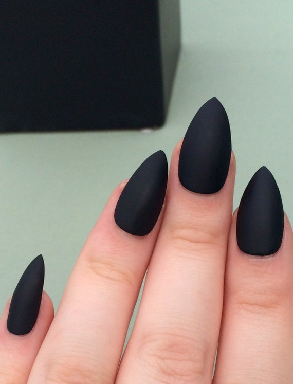 Matte Black Nails Stiletto Coffin Fake