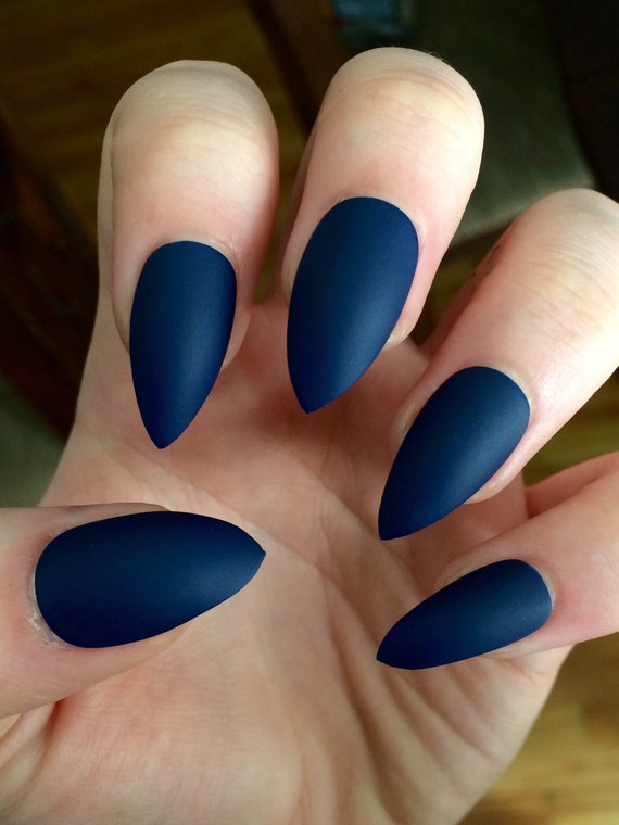 Matte nails stiletto nails navy blue fake nails | Etsy