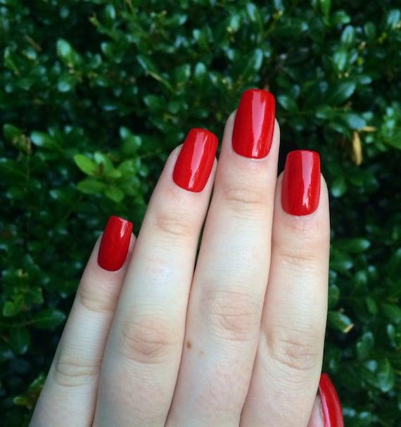 Set of long red fake nails acrylic nails red press on nails | Etsy