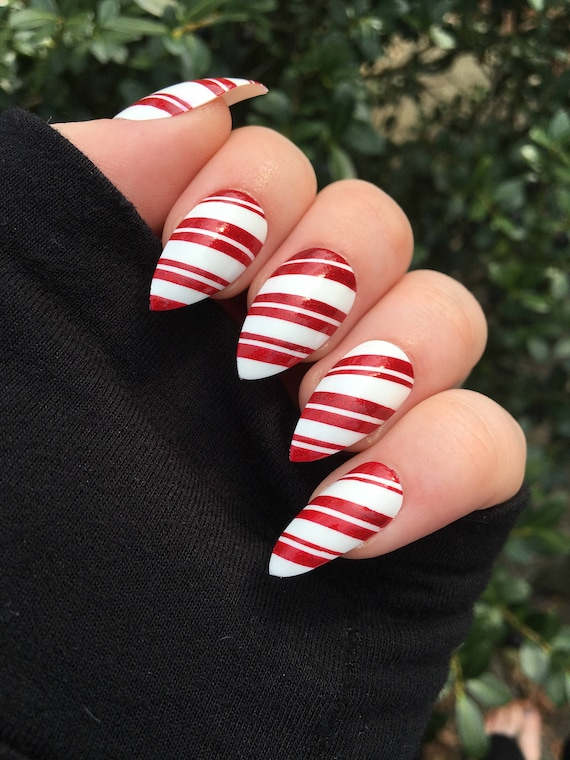 Christmas Stiletto Nails.Fake Nails Candy Cane Nails Christmas Nails Stiletto Nails Coffin Nails Press On Nails