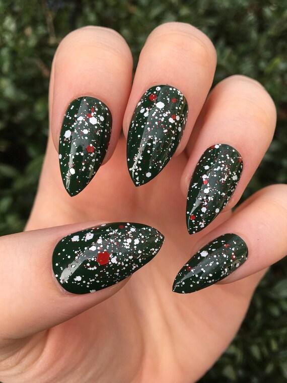 Fake nails glitter nails Christmas nails stiletto nails