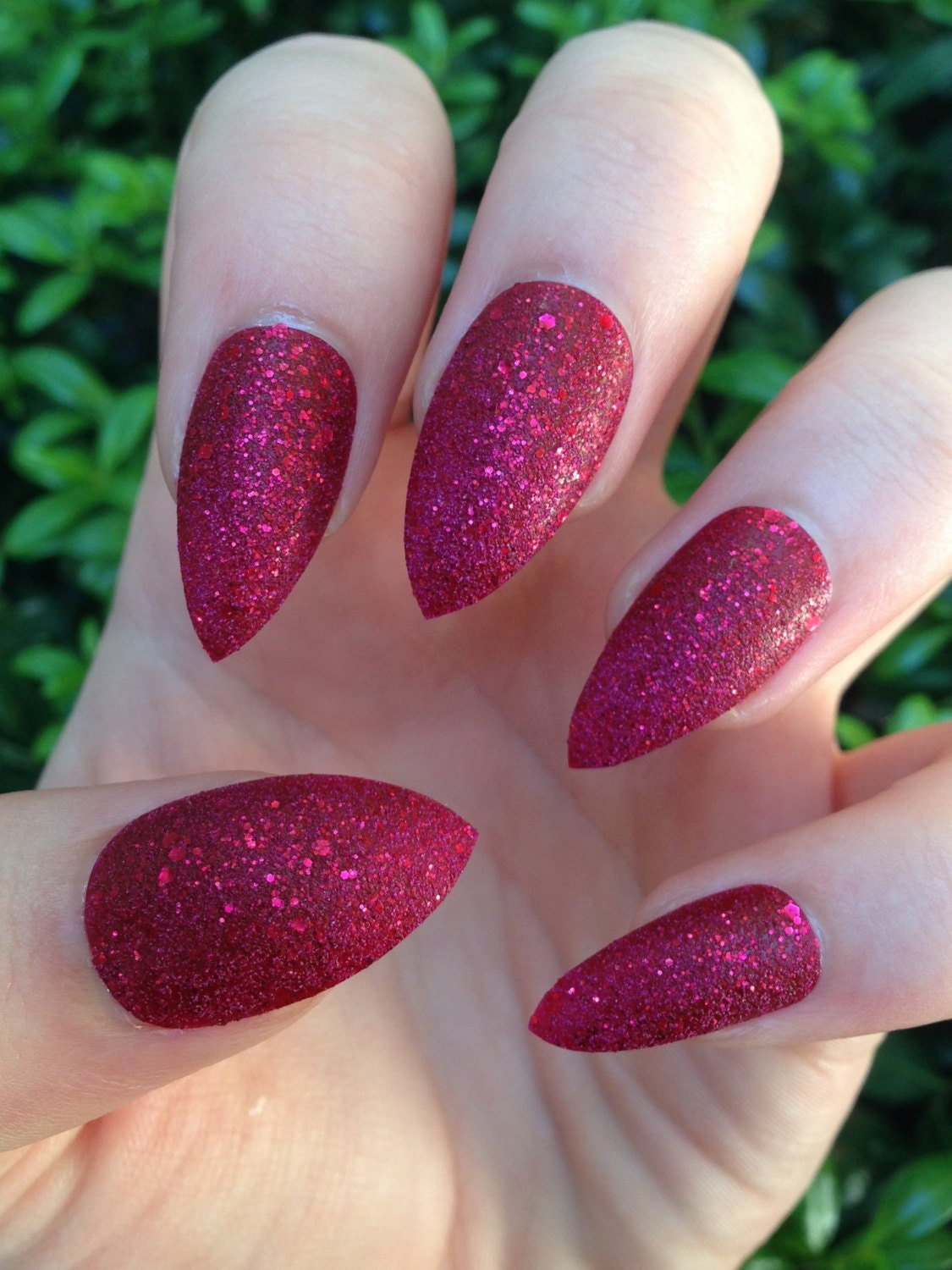fake nails, stiletto nails, red nails, red glitter, press on nails ...