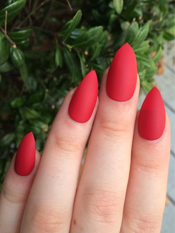 Fake nails matte nails red matte nails stiletto nails | Etsy