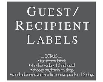 guest address labels etsy