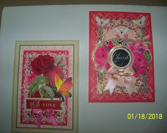 Set of two Valentine greeting cards