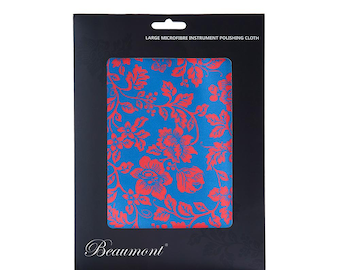 Large Recycled Microfibre Cloth - Roses. Beaumont Microfiber Cleaning Cloth for Flute, Clarinet, Oboe, Trumpet and more