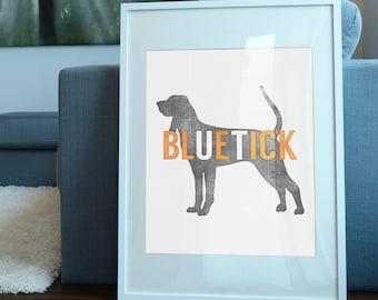 Tennessee Vols Inspired Art Print / Smokey the Bluetick Coonhound