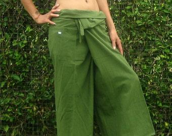FG0019 Black cotton Thai Fisherman Pants Wide Leg pants Unisex pants Wrap pants