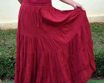 dddde6a03 Floor Length Maxi Skirt Big Plus Size Maxi Skirt Flared Maxi Skirt Pleated Long  Skirt Floor Maxi Skirt Cheap Long Loose Skirt * SM-bordeaux