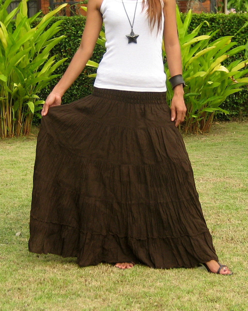 Plus Size  Extra Long Maxi Skirt  Long Skirts For Women  Pleated Skirt   Crinkle Skirt  Boho Skirt  Hippie Skirt  choco  XS – XXL