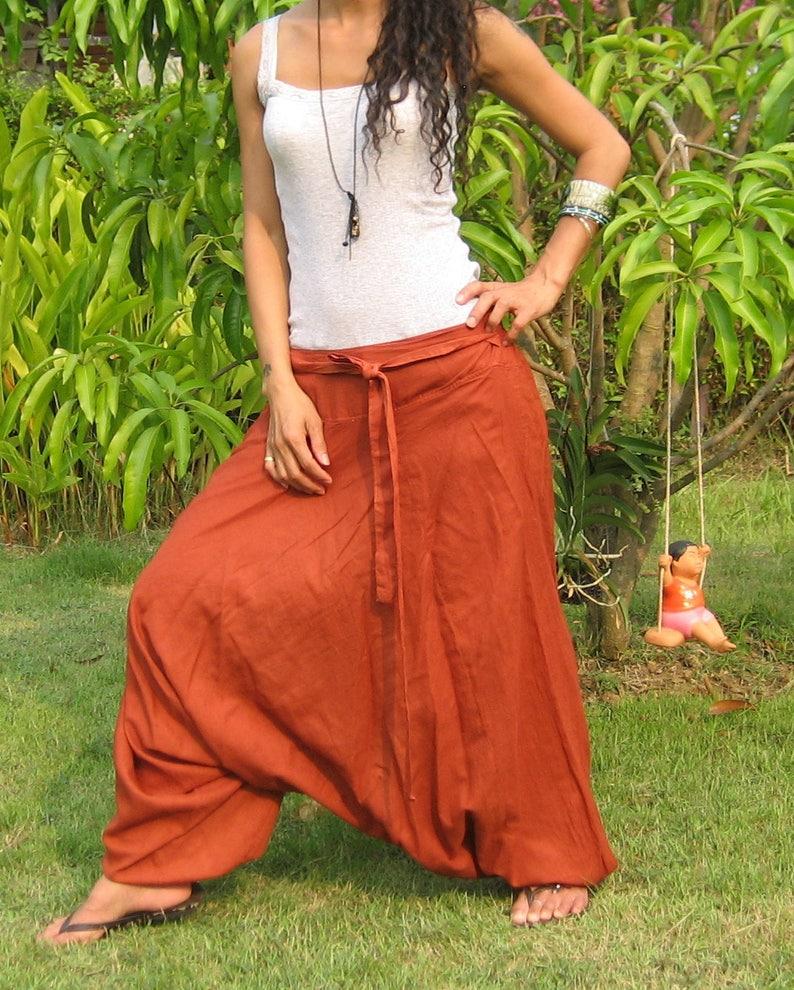 HL Harem Pants Women Baggy Pants Aladdin Yoga Pants Harem Baggy Pants Men Gypsy Pants Harem Boho Pants terra