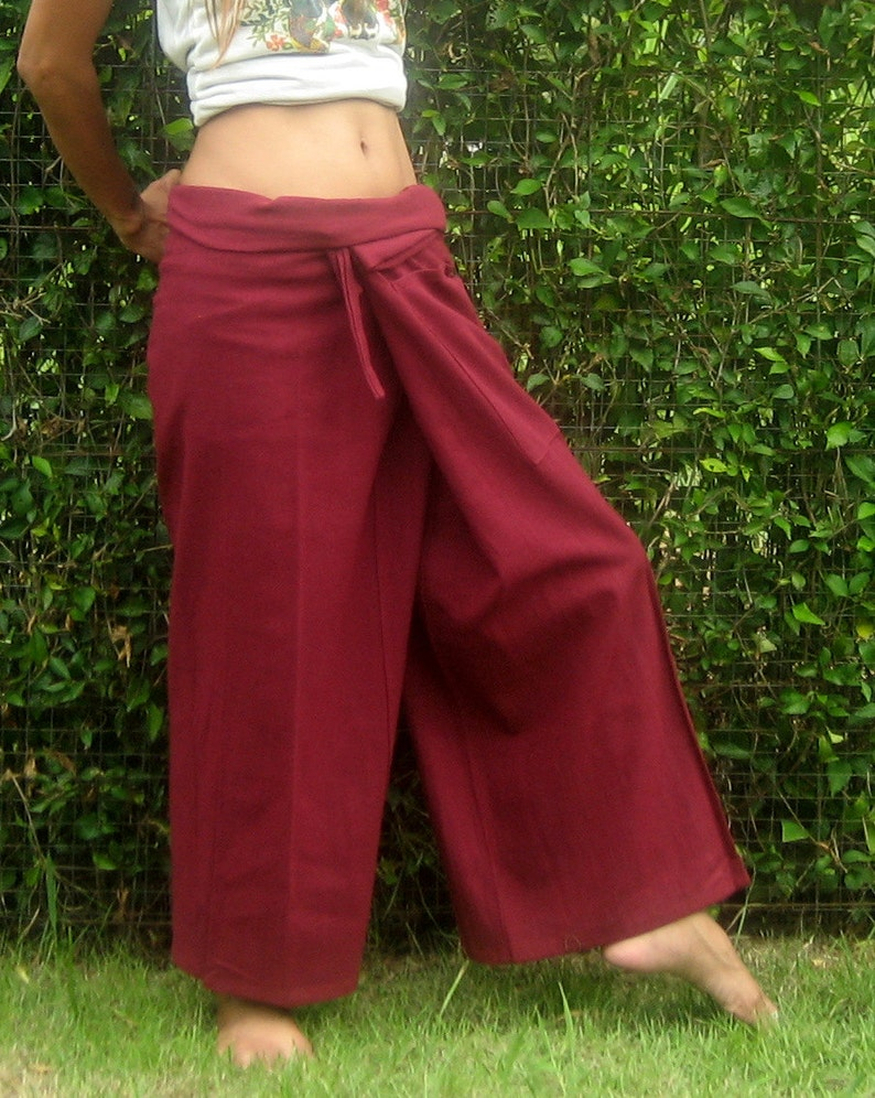 Thai Fisherman Yoga Meditation Massage Maternity Pants Long Beige 100/% COTTON.