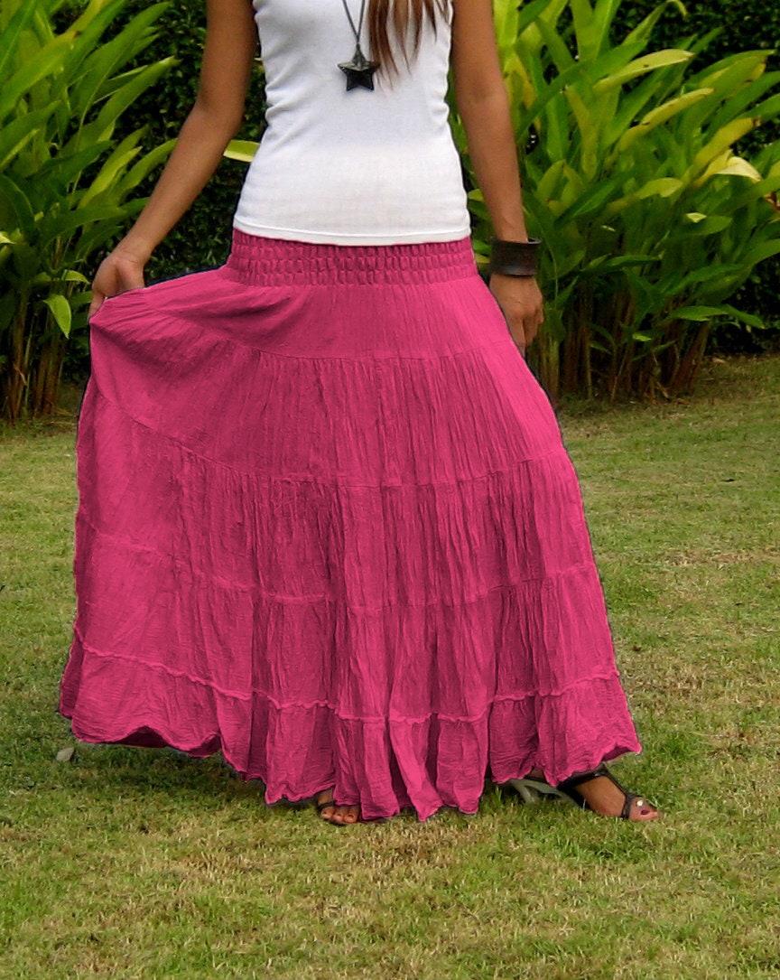 Long Maxi Skirt  Elastic Smocked Waist  Long Skirts For Women  Hippie  Skirt Bohemian Skirt Boho SkirtTiered Skirt SL Amaranth Red