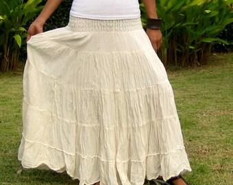 Plus Size * Extra Long Maxi Skirt * Long Skirts For Women * Pleated Skirt * Crinkle Skirt * Boho Skirt * Hippie Skirt * cream * XS – XXL