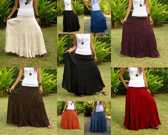 Plus Size Long Maxi Skirt Long Skirts for Women Boho Skirt Maxi Cotton Skirt Long Hippie Skirt Bohemian Skirt * Free Shipping * XS XXL