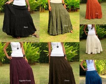 Plus Size Long Maxi Skirt Long Skirts for Women Boho Skirt Maxi Cotton Skirt Long Hippie Skirt Bohemian Skirt * Free Shipping * XS - XXL
