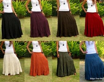 Cotton Maxi Skirt * Elastic Smocked Waist * Boho Skirt * Long Skirts for Women * Long Hippie Skirt * Bohemian Skirt * Free Shipping * SL