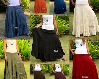 Cotton Maxi Skirt * Elastic Smocked Waist * Boho Skirt * Long Skirts for Women * Long Hippie Skirt * Bohemian Skirt*Free Express Shipping*SL