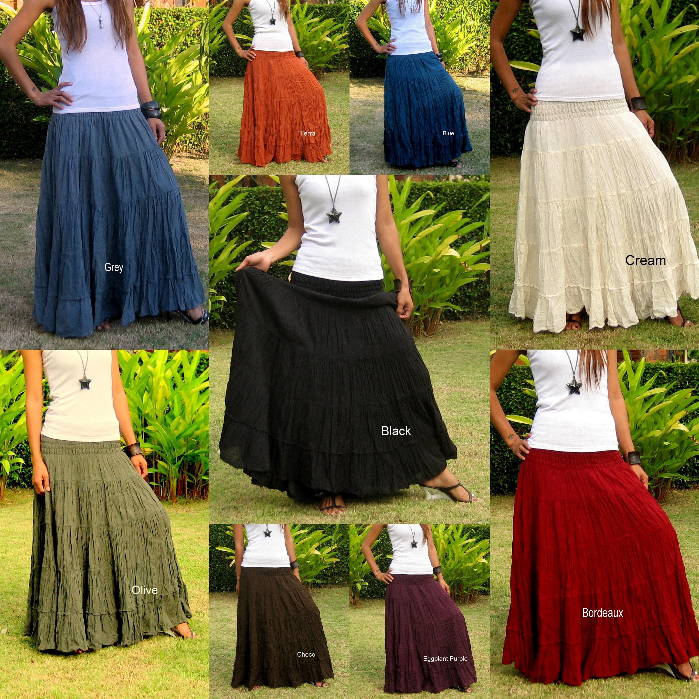Cotton Maxi Skirt  Elastic Smocked Waist  Boho Skirt  Long Skirts for  Women  Long Hippie Skirt  Bohemian SkirtFree Express ShippingSL